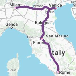 Milan-Venice-Florence-Rome-map